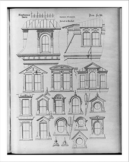 Historic Print (L): Architectural detail drawings of many