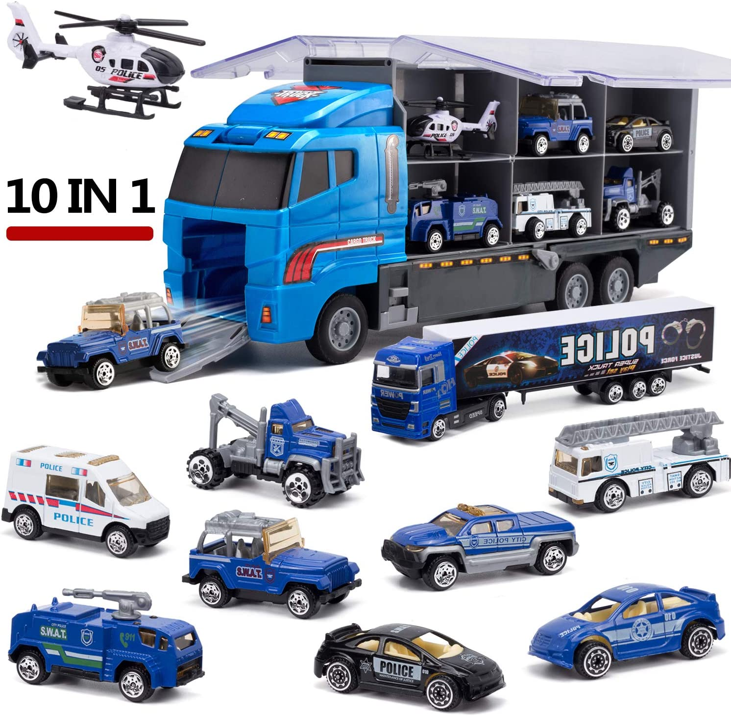 10 in 1 Police Transport Truck, Mini Die Cast Plastic Play Vehicle in Carrier Car Toy Set, Mini Cars for Kid Children Boy And Girl Best Gift for