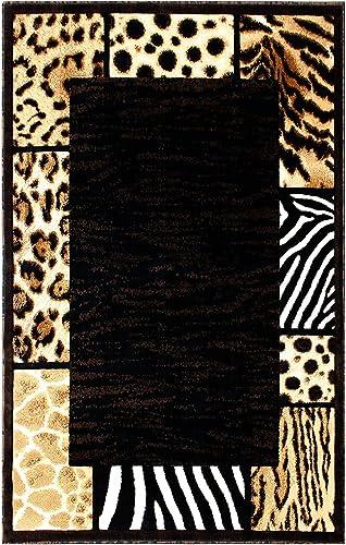 Animal Print Area Rug Design Skinz 73 Black 5 Feet X 7 Feet