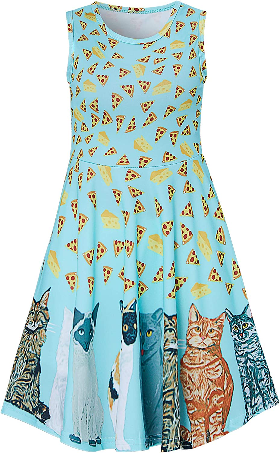uideazone Girls Sleeveless Dress Round Neck Floral Printed Casual Party Sundress 4-12 Years