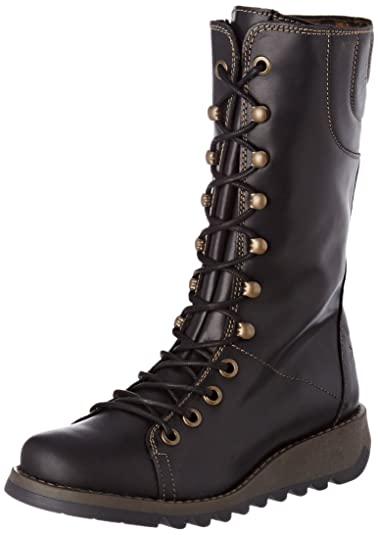 24af725a0c3 Amazon.com | FLY London Womens Black Ster768Fly Leather Boots | Mid-Calf