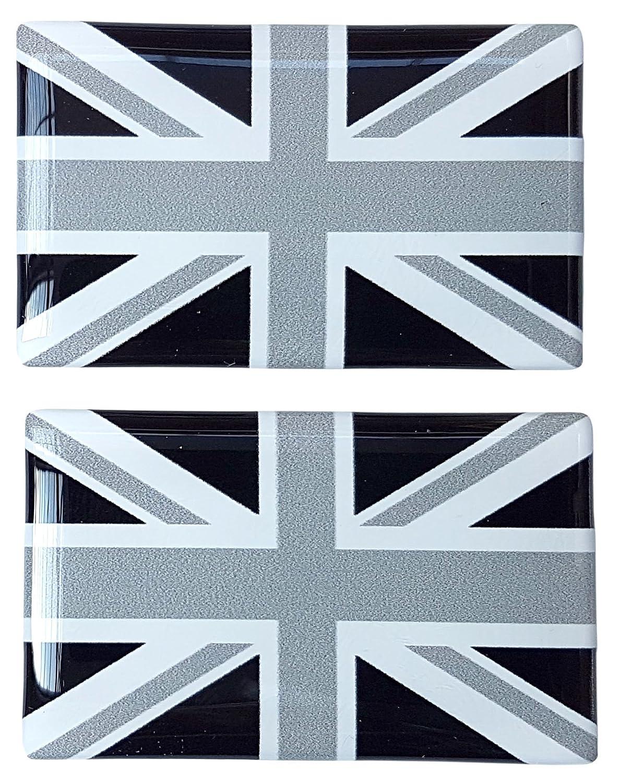 Union Jack Drapeau Britannique Noir & Blanc Sticker Badge Gel 3D Résine Dôme Lot de 252mm x 32mm