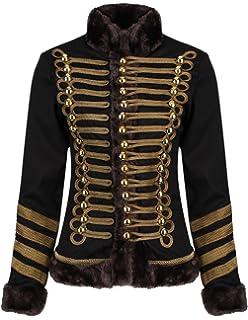 3f1a8a1f14f Ro Rox Chaqueta Desfile Militar para Mujer en Negro y Marrón con Piel  Sintética