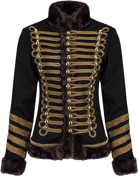 Ro Rox Damen Militärische Parade Jacke mit Kunstpelz