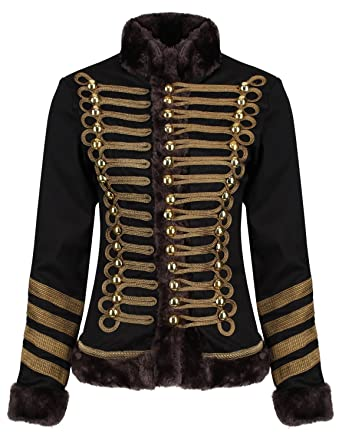 bajo precio 5dc7e 8f356 Ro Rox Chaqueta Desfile Militar para Mujer en Negro y Marrón con Piel  Sintética