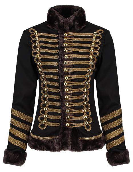 Amazon.com: Ro Rox Womens Military Parade Jacket Black ...
