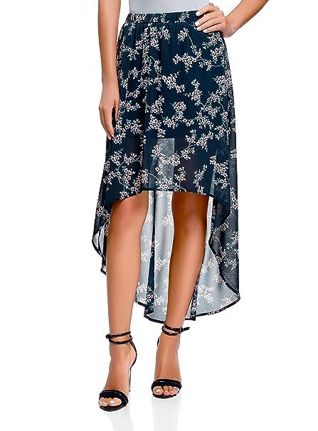 oodji Ultra Mujer Falda de Gasa con Parte Inferior Asimétrica, Azul, ES 34 /