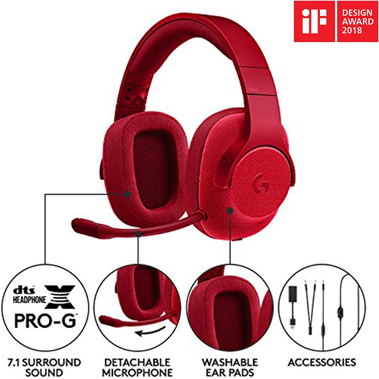 Logitech G433 Wired Gaming Headset, 7.1 Surround Sound for PC, Xbox One, PS4, Switch, Mobile Red & MX Anywhere 2 AMZ Wireless Bluetooth Mouse for