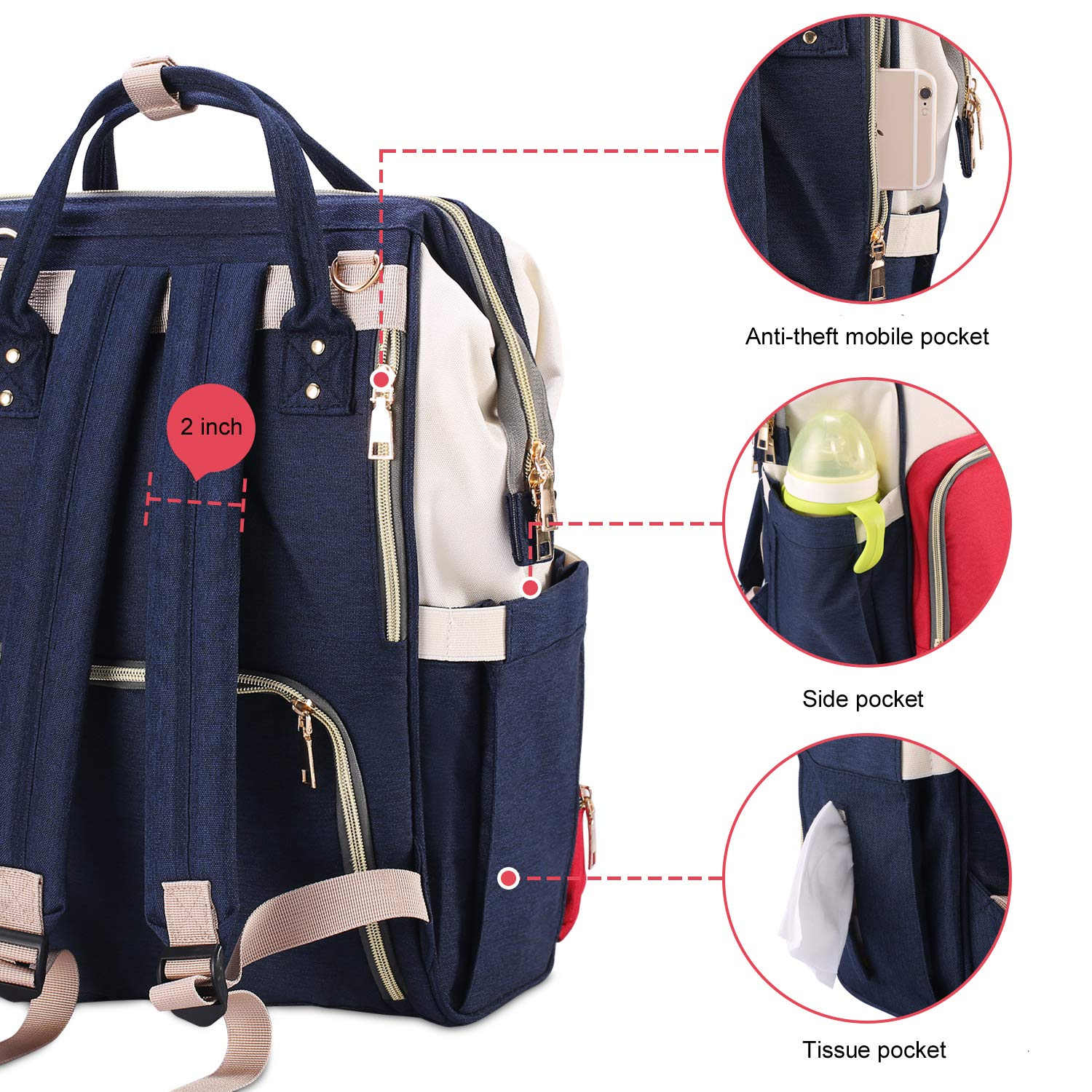 Eocean Baby Diaper Bag Large Capacity Mommy Backpack Baby Nappy Tote Bags Multi-Function Travelling Backpack for Mom Travellers Nurses Students (Red+White+Blue)