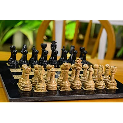 Radicaln Completely Handmade Original Marble Chess Board Game Set Two Players Full Chess Game Table Set (12 Inches Chess Set): Toys & Games