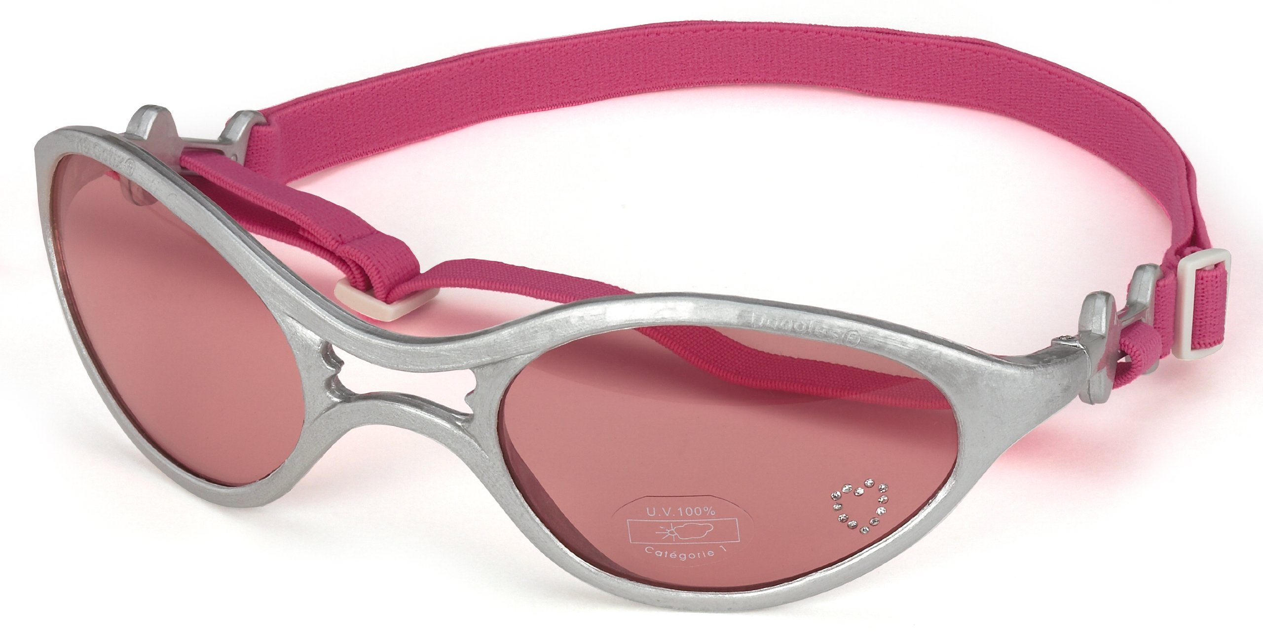 Doggles K9 Optix Shiny Silver Rubber Frame with Pink Lens Sunglasses, Medium