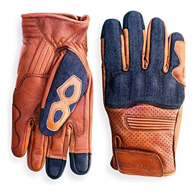 Denim & Leather Motorcycle Gloves (Camel) With Mobile Touchscreen by Indie Ridge (Large): Automotive [5Bkhe0810731]