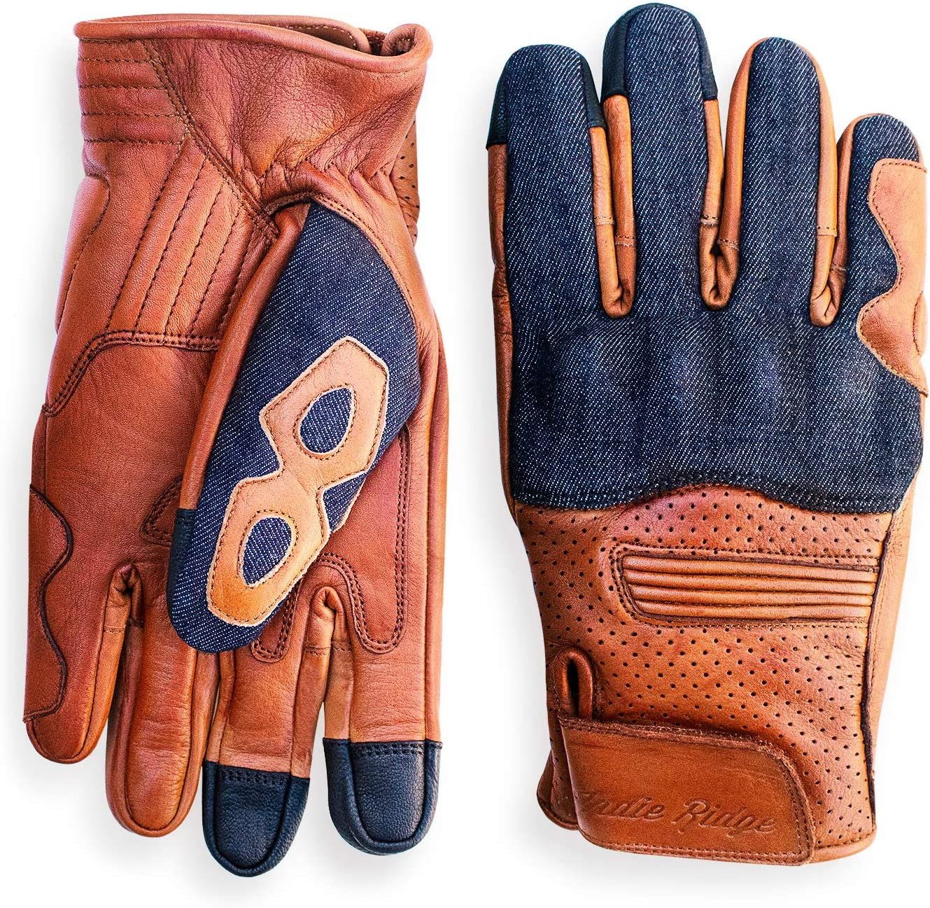 Camel Denim /& Leather Motorcycle Gloves X-Small With Mobile Touchscreen by Indie Ridge