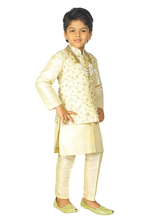 4dd286c01d Ahhaaaa Kids Indian Ethnic Banarasi Silk Kurta Pyjama and Waistcoat Set for  Boys