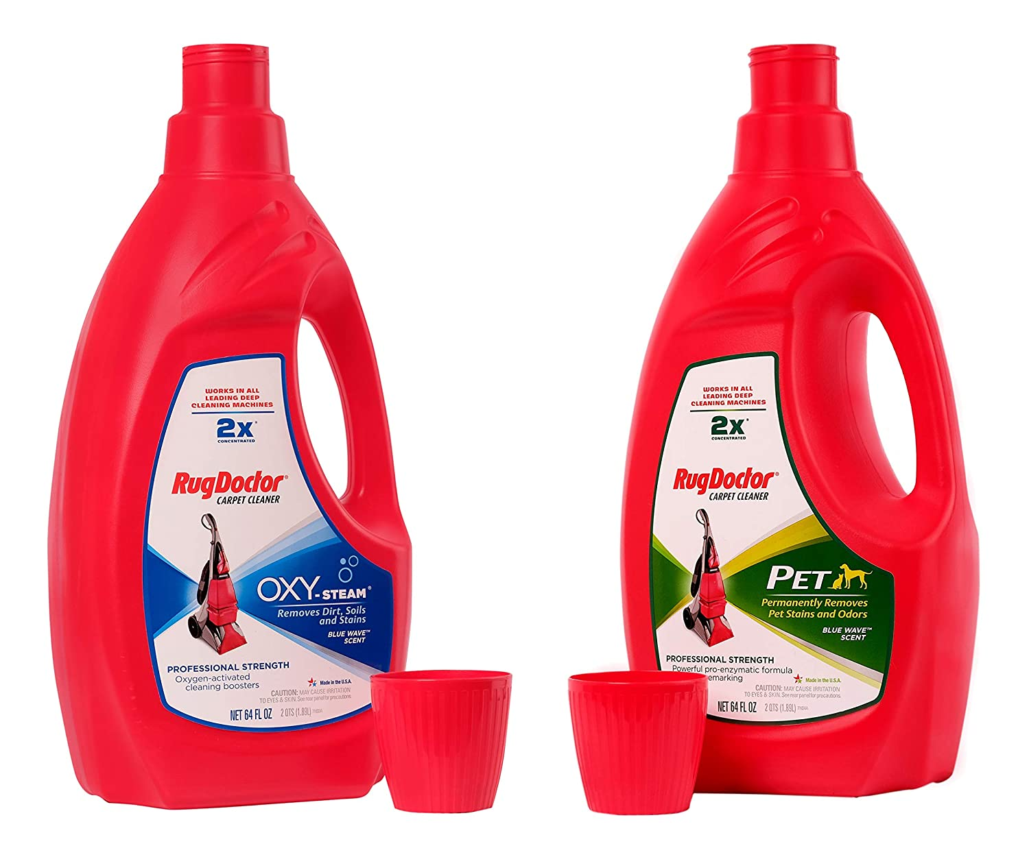 Rug Doctor 64 Ounce Oxy Steam Carpet Cleaner Solution Super Concentrated Solution Works in All Leading Deep Cleaning Machines bundle with 64 Ounce Doctor Pet Formula Concentrated Carpet Cleaner