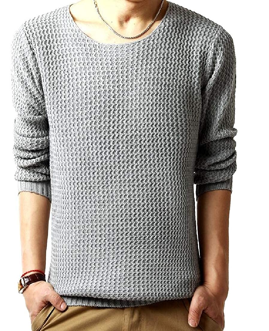 Generic Mens Pullover Sweaters Crew Neck Long Sleeve Cable Knit Sweater Tops
