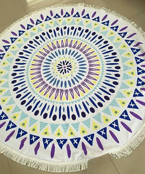 Verano redondo Mandala toalla de playa de microfibra con flecos chal macramé de picnic tapiz manta