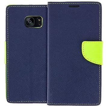 Etui Portefeuille Bleu Galaxy S7 Edge QAT8M