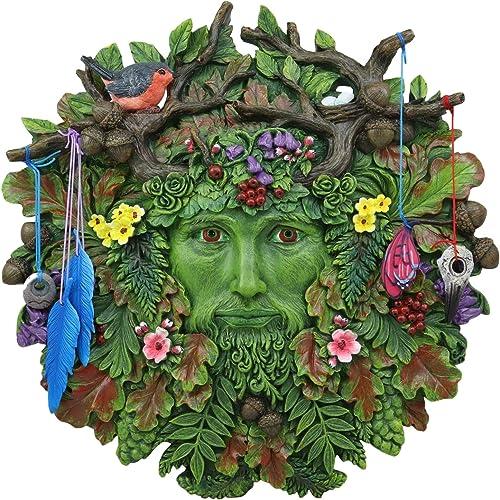 Ebros Brigid Ashwood Colorful Nature Spirit God Celtic Greenman Hanging Wall Decor Plaque 12″ High Wiccan Tree Of Life Forest Tree Ent Decorative Sculpture Mythical Fantasy Cernunnos Horned God