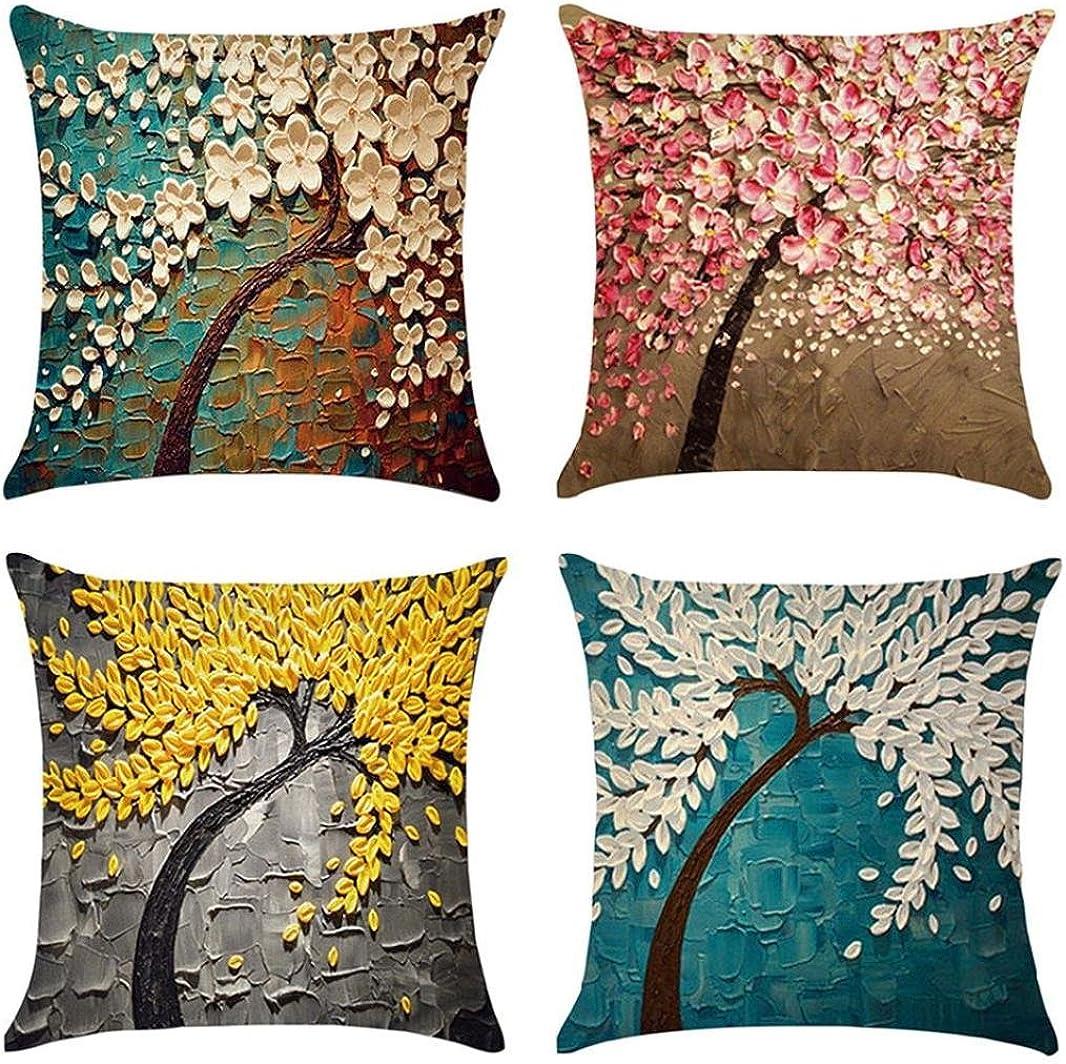 Fossrn Fundas de Cojines 45x45 4PC Vintage Floral Hojas Árboles ...