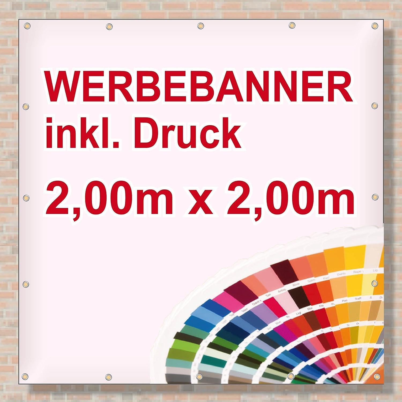 Werbebanner Werbeplane 600 x 80 cm umsäumt UND veröst