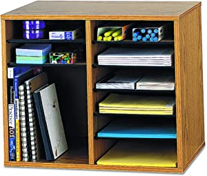 Safco Products Wood Adjustable Literature Organizer, 12 Compartment 9420MO, Medium Oak, Durable Construction, Removable Shelves