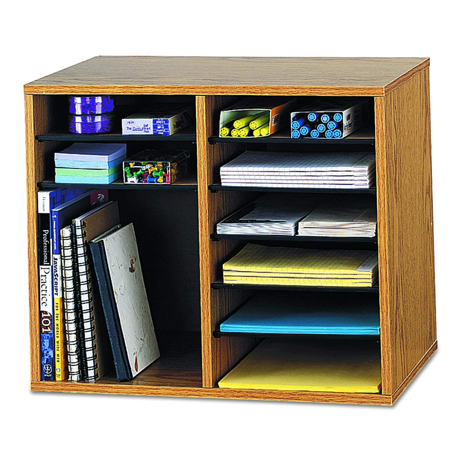 Safco Adjustable Wood Literature Organiser with 12 Compartments 9420MO