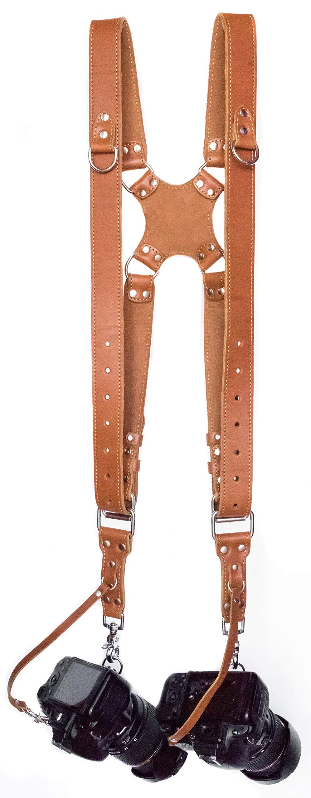 Camera Strap Accessories for Two-Cameras - Dual Shoulder Leather Harness - Multi Camera Gear for DSLR/SLROrange
