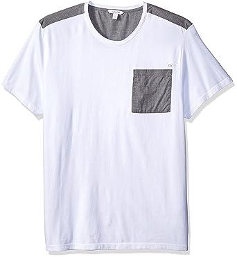 1e053ea0a717 Calvin Klein Men's Short Sleeve T-Shirt Mixed Media Pocket Crew Neck,  Original White