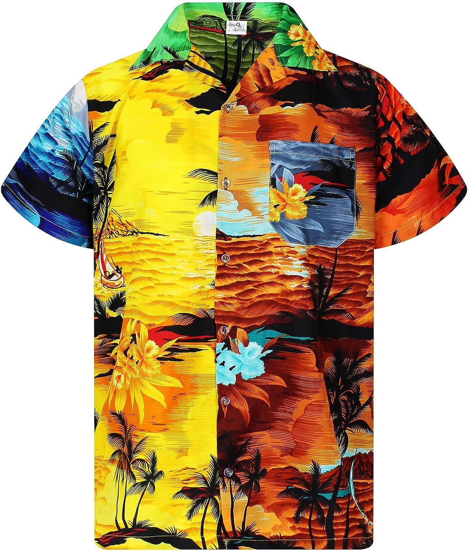 King Kameha Hawaiihemd Herren Funky Casual Kragen Brusttasche Unisex Kurzarm Surf