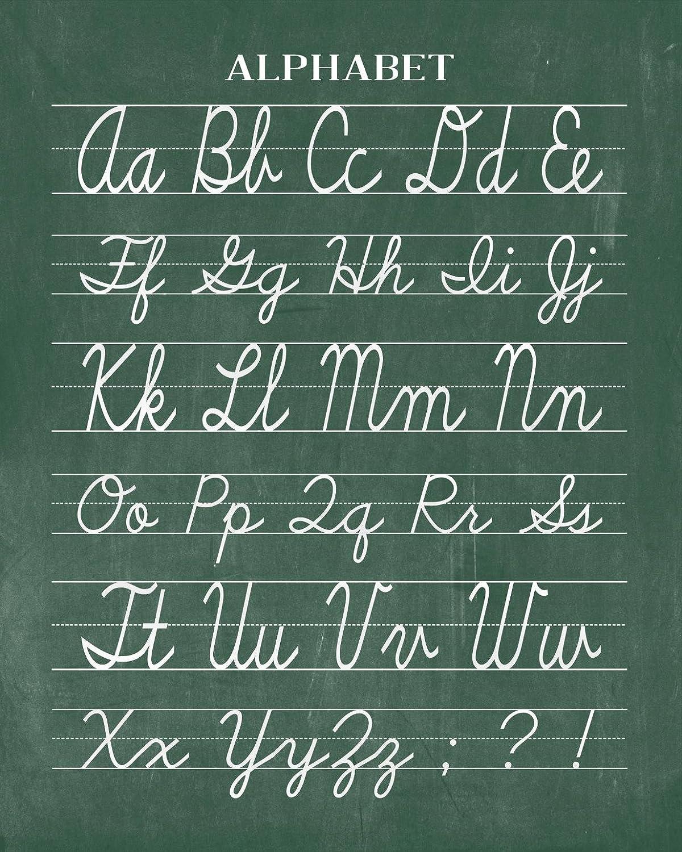 Amazon Vintage Cursive Alphabet Classroom Poster Chalkboard Word Art Print