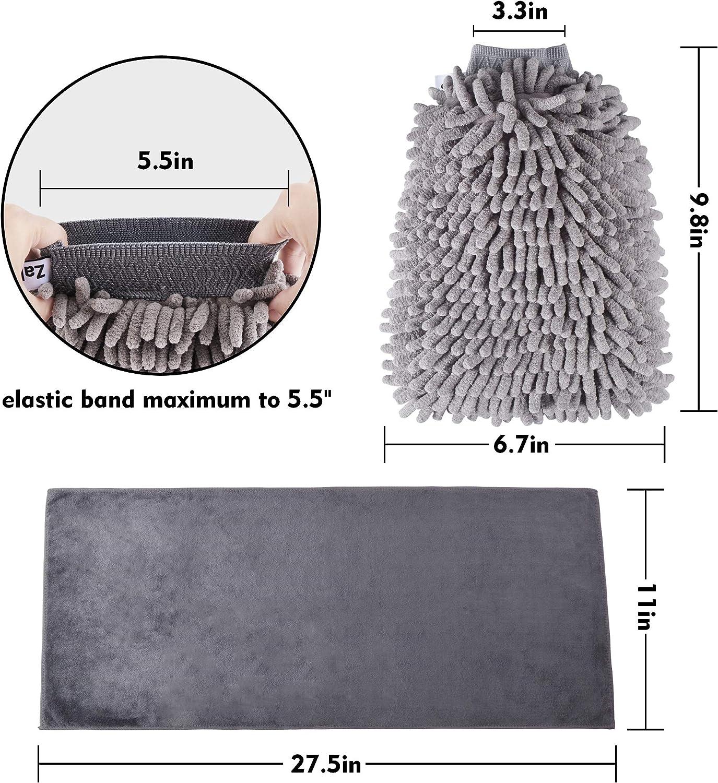 Use Wet or Dry Blue Soft Mitt 2 x Mitt; 1 x Towel 3 Pack Zalava Car Wash Mitt Scratch Free Premium Chenille Microfiber 2 Wash Gloves and a Microfiber Towel
