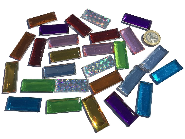 27pezzi 40mm x 15mm grande etichetta glitzernde acrilico colorato e brillantini mosaico colorato miscela Deko strass da decorare con strass rettangolare acrilico pietre opal effetto arcobaleno effetto laser effetto arcobaleno pietre trasparente cristall