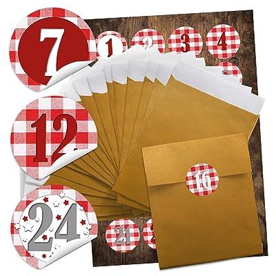 48 dorées Noël sacs papier blanc (13 x 18 cm) + 48 autocollants 4 cm ronde rouge à carreaux chiffres pour superbe Calendrier de l'Avent soi-même manuels; Qualité 1 A.: Oficina y papelería