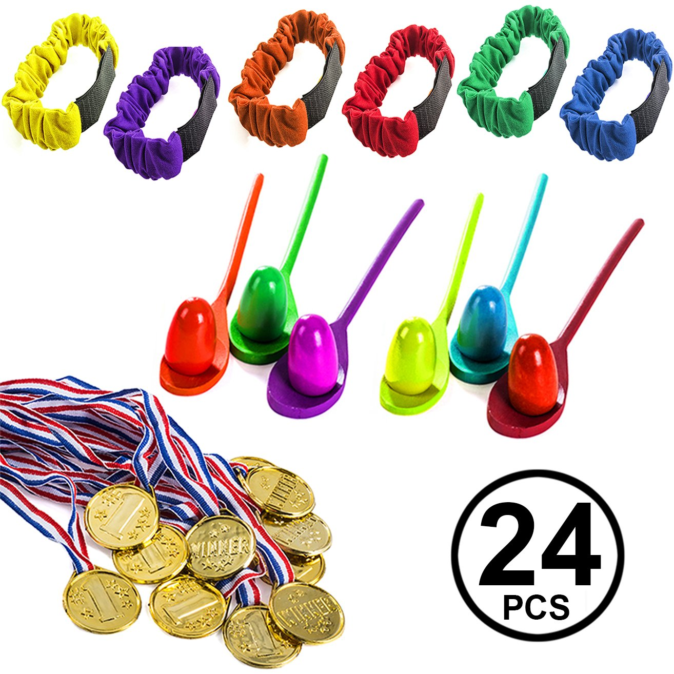 Carnival Games - 24 Pc Set - Relay Races - Party Games for Kids and Adults - Birthday Party Games Funny Party Hats