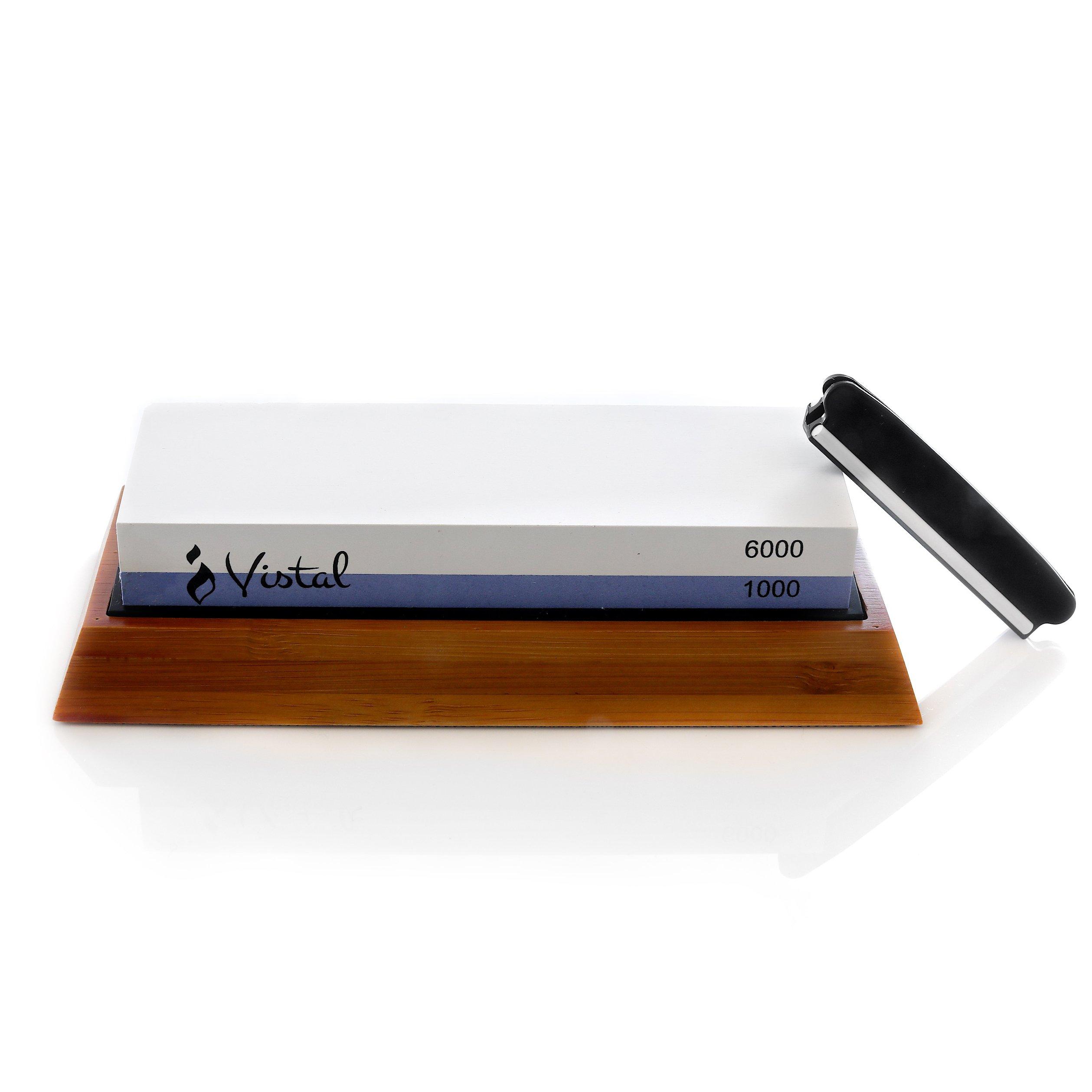 Vistal Kitchen Knife Sharpening Stone - 2 Sided Whetstone,1000/6000 Grit Knife Sharpening Stones | Chef Sharpening Stone | Wetstone, Non-Slip Base & Angle Guide Included