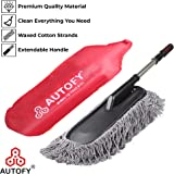 Autofy MULTI-PURPOSE Universal Extendable Car Duster Cotton Windshield Mop Dusting Polishing Interior Exterior Bike Flexible Cleaning Brush (Black)