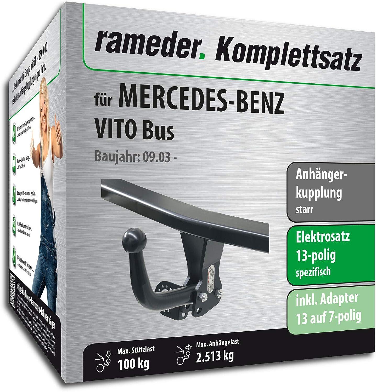 121745-05013-3 Anh/ängerkupplung starr 13pol Elektrik f/ür Mercedes-Benz VITO Bus Rameder Komplettsatz