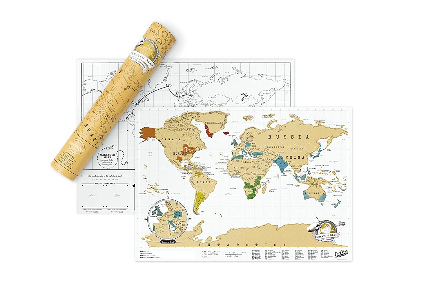Amazoncom Scratch Map Travel Size Personalised World Map By - Scratch world map us manaufacturuer