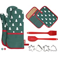 Cotton Oven Mitts&Potholders Set (10-Pcs), 2 Extra Long Oven Mitts with Non Slip Silicone, Spatula & Brush and 4 Cookie…