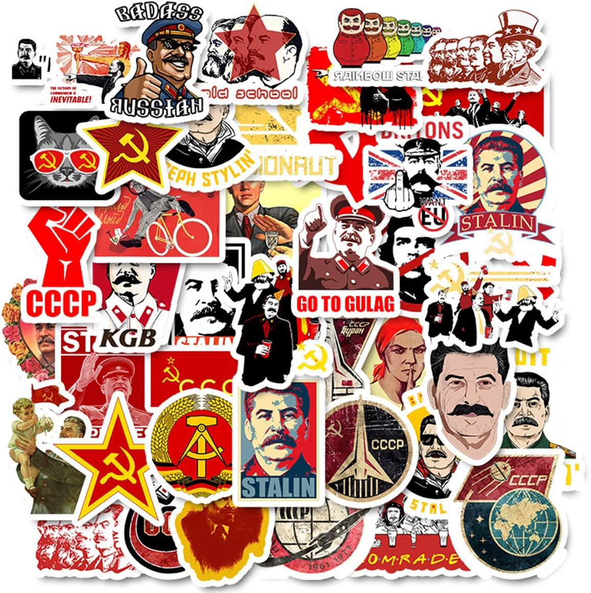 50pcs Stalin USSR CCCP Stickers for Laptop Water Bottle Luggage Snowboard Bicycle Skateboard Decal for Kids Teens Adult Waterproof Aesthetic Stickers