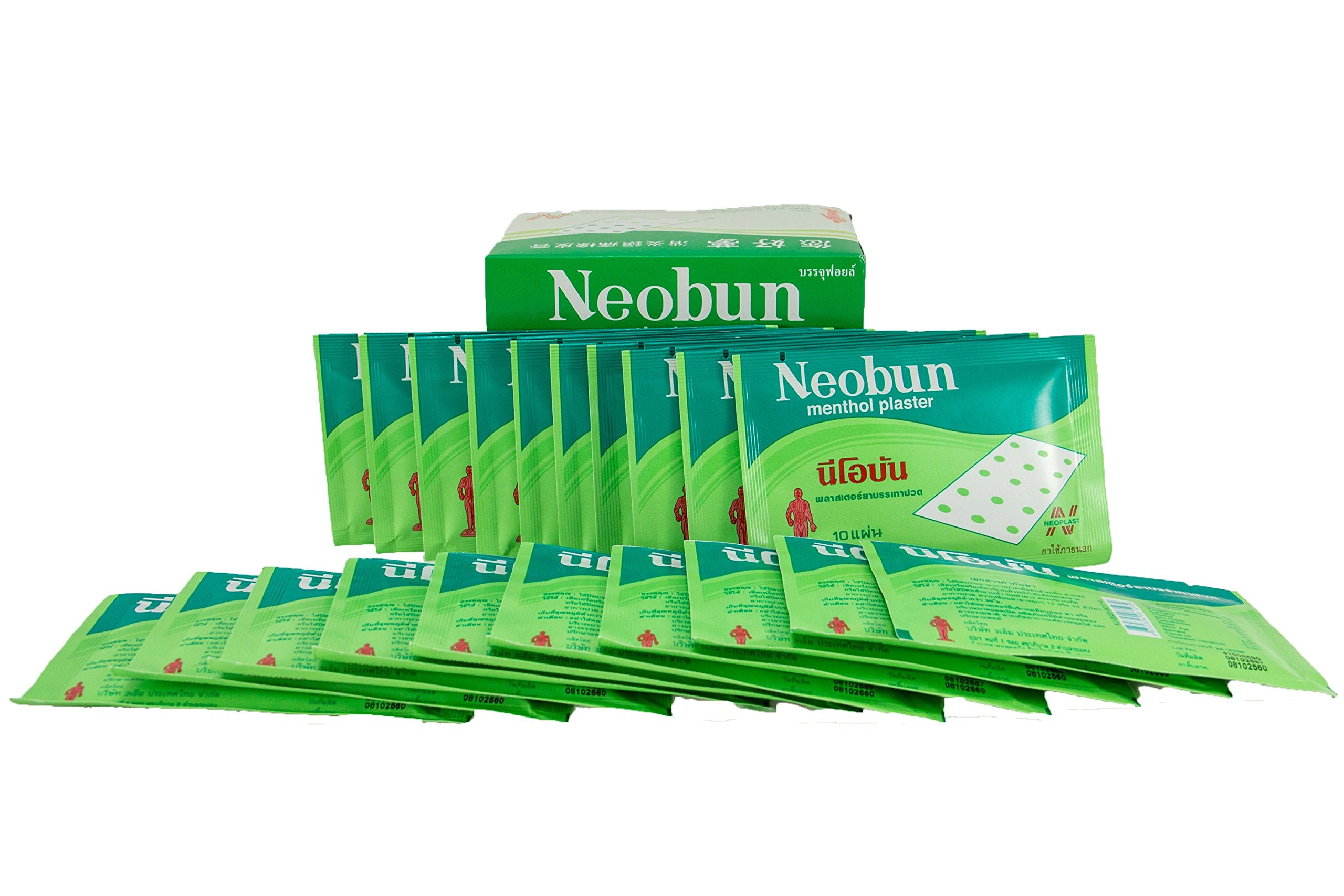 Neobun Menthol Plaster Relief Back Body Joint Muscle Pain Ache by 3M [20 Plasters]