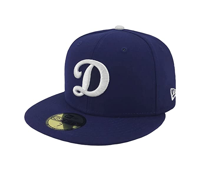 New Era 59fifty Hat MLB Los Angeles Dodgers Dark Royal Blue  quot D quot   Logo 1bbffad8058