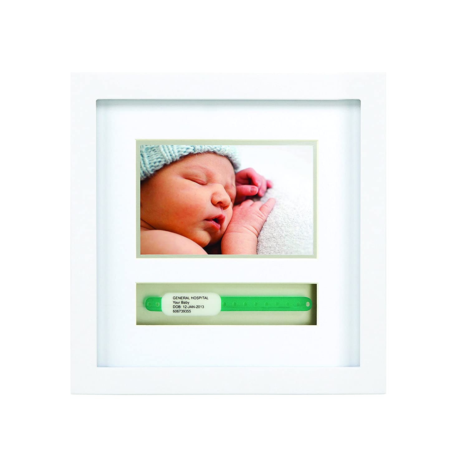 Pearhead Baby Hosipital ID Bracelet and Photo Keepsake Frame, White 86013