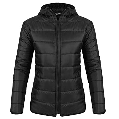 Activave Women's Hooded Packable Light Weight Short Down Jacket, Puffer Coat for Women: Clothing
