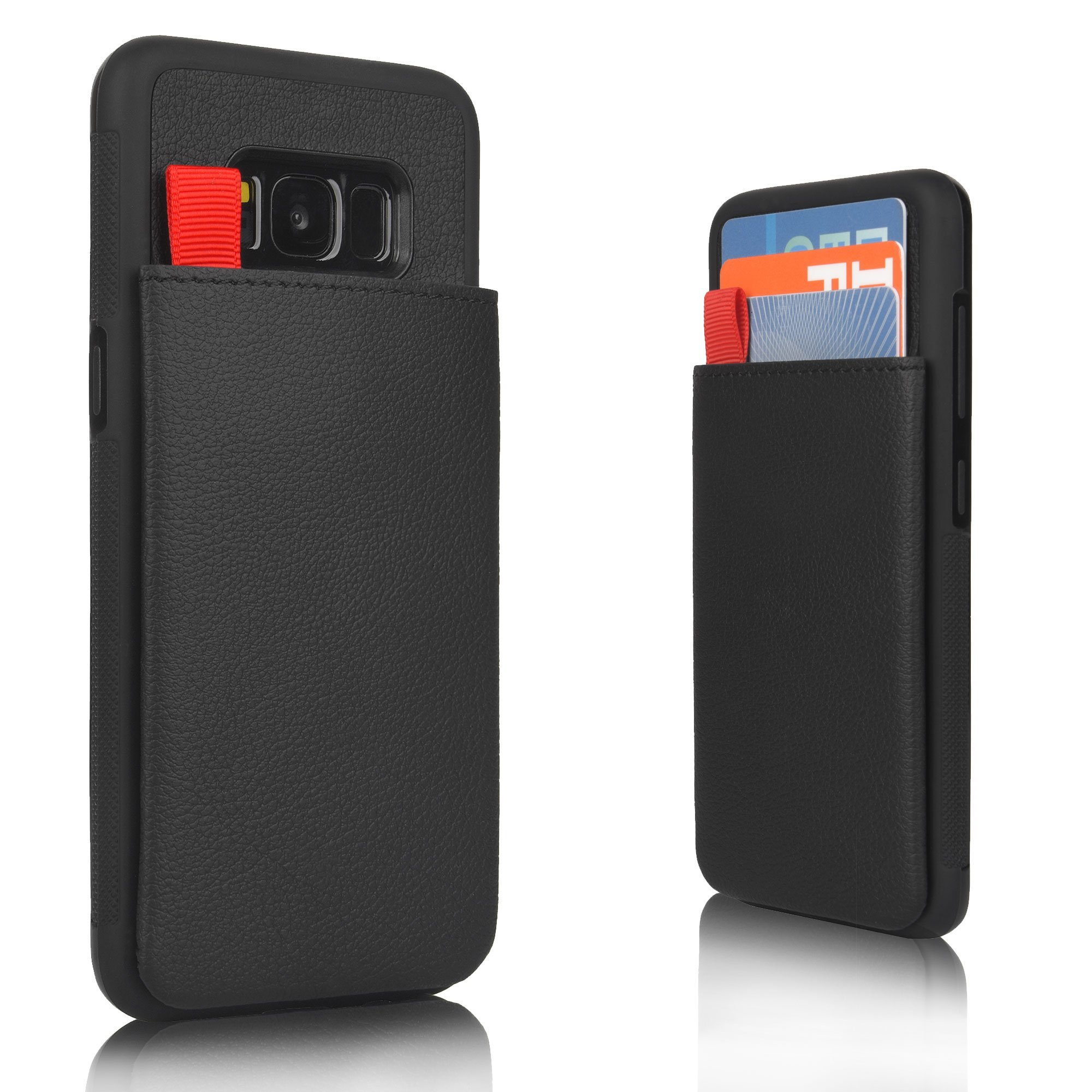 MANGATA Triton Leather Wallet case Compatible Samsung Galaxy S8 | Slide Out Hidden Wallet Pocket, Rugged Shell | Cruelty Free Leather | Credit Card Holder, Cash Pocket, Screen Protector (Black)