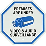 """SmartSign Aluminum Sign, Legend """"Premises Are Under Video & Audio Surveillance"""" with Graphic, 12"""" tall octagon, Black/Blue on White"""