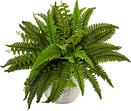 Amazon Com Nearly Natural 6308 Boston Fern In White Planter Artificial Plant Green Home Kitchen