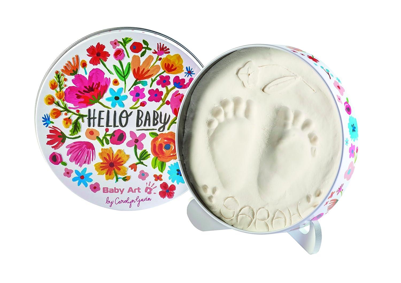 Baby Art Magic Box Scatola Tonda in Metallo con Kit Impronta per Calco in Gesso di Mani e Piedi del Neonato, Confetti Dorel 34120145