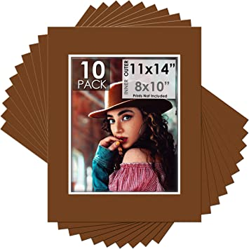 Backing Pack of 25 11x14 Java Photo Mats with WhiteCore for 8x10 Photo Bags